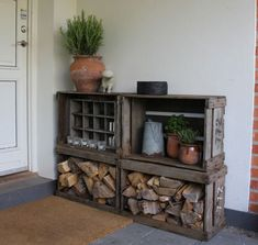 23 Ideas wood storage ideas firewood rack living rooms for 2019 Apple Boxes, Apple Crates, Firewood Rack, Firewood Storage, Wood Crates, Wood Boxes, Milk Crates, Decoration Palette, Porch Decorating
