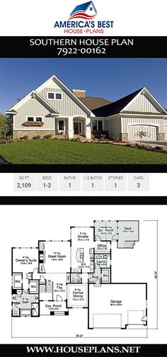Plan 7922-00162 is a delightful 2,109 sq. ft., 1-story Southern house plan featuring 1-2 bedrooms, 1 bathroom, a screened in porch, a mud room, and a 3 car garage. Southern House Plans, Screened In Porch, Car Garage, Mudroom, Square Feet, Floor Plans, Cottage, How To Plan, Mansions