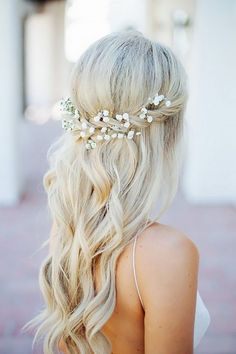 Half Up Half Down Wedding Hairstyles Ideas- Flower in hair