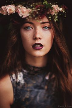 Rosebud by Kayleigh June - Romantic Flower Crown ~ Steve Mccurry, Plum Lipstick, Freckles Girl, Patrick Demarchelier, Depth Of Field, Photoshoot Inspiration, Photoshoot Ideas, Senior Portraits, Senior Pics