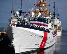 The commissioning crew of U.S. Coast Guard Cutter (USCGC) Charles Moulthrope (WPC 1141) stands proudly on the ship's decks at Coast Guard Base Portsmouth, Virginia shortly after it was commissioned into service at Coast Guard Base Portsmouth. Coast Guard Bases, Coast Guard Cutter, Us Coast Guard, Small Boats, Key West, Portsmouth Virginia, Decks, Key West Florida, Front Porches