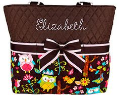 Discount Quilted Owl Give a Hoot Diaper Bag With Brown #WQL2121-BROWN - Wholesale Accessory Market