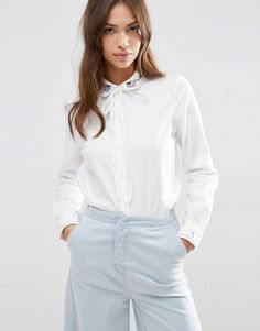 Image 1 ofASOS Embroidered Collar Casual Pussy Bow Shirt