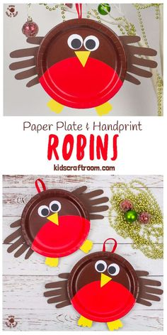 Here's an adorable PAPER PLATE ROBIN CRAFT that's perfect for your toddlers and preschoolers. These cute robins are really easy to make and so sweet with their HANDPRINT WINGS! Handprint crafts always make the most darling keepsakes don't they? This paper plate craft is fun all your round and particular cute as a Christmas craft! #kidscraftroom #paperplatecrafts #handprintcrafts #christmascrafts #toddlercrafts #preschoolcrafts #robins #robin