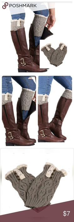 """Lace Stretch Boot Leg Cuffs  (Light Grey) Size: 8.26""""x 3.93""""  Soft and comfortable  Fit: Adult   Our leg warmers are any boot's best friend. We love them with rain or ankle-length boots. You can pair them with tights, leggings, skirts, skinny jeans for a sweet cozy look. Cute crocheted lace trim & button details.  Care: Hand wash cold and lay flat to dry   Several other colors & styles available. Bundle & SAVE! Accessories Hosiery & Socks"""
