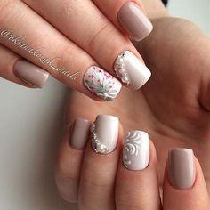 Gorgeous elegant simple flower jewels white beige pink nails spring 2017
