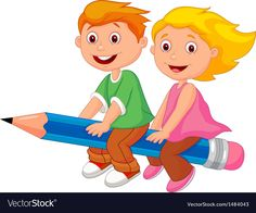 Cartoon Boy and girl flying on a pencil. Illustration of Cartoon Boy and girl fl , Cartoon Cartoon, School Cartoon, Cartoon Kunst, Cartoon Drawings, Cartoon Characters, School Murals, School Clipart, Preschool At Home, School Decorations