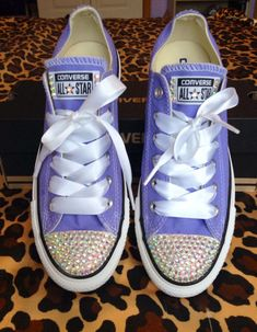 Rhinestone Converse with Ribbon Shoelaces Bedazzled Shoes 184fa609d6