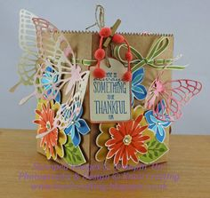 2015  Butterfly Framelits,  with the Flower Patch stamps and matching Dies.   made the box with the Treat Bag Thinlits.