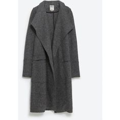 Zara Wool Coat ($149) ❤ liked on Polyvore featuring outerwear, coats, jackets, clothes - outerwear, dark grey, wool coat, woolen coat and zara coat