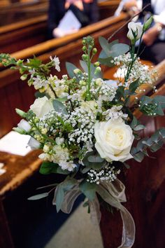 White and green Pew Ends