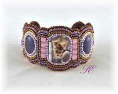 Bead Embroidery Cuff Bracelet, OOAK handmade.