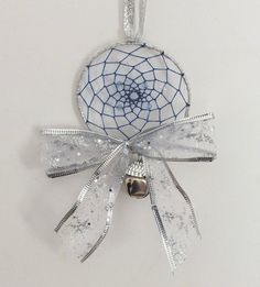 Christmas Blue and Silver Dreamcatcher Native American Inspired Ornament/Decoration.
