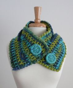 braided scarf cowl neck warmer blues and greens by loopdeedoo