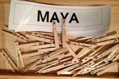 Clothespin name center - write students name on individual clothespin so they can find which center (group activity) they are assigned to