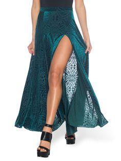 Burned Velvet Elm Split Skirt - LIMITED (AU $99AUD) by Black Milk Clothing
