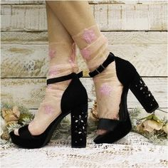 STARRY NIGHT sheer tulle sock for heels - pink, cute socks, sheer socks, socks for heels, trendy socks Sheer Socks, Socks And Heels, Ankle Socks, Pink Heels, Black Heels, Fish Net Tights Outfit, Fall Socks, Vans Outfit, Paris Chic