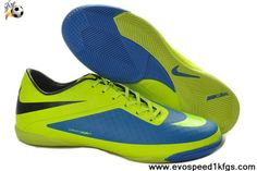 a578ab181c338 Fluorescent Green Blue Black Nike Hypervenom Phelon IC Indoor Soccer Shoes  Adidas Soccer Shoes