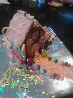 Kelsey and I created this Pink Gingerbread House for Christmas.