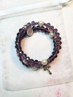 Amethyst Crystal Glass Pearl Rosary Bracelet, February Birthstone Memory Wire Bracelet, One Size Fits All by LivAriaDesigns on Etsy