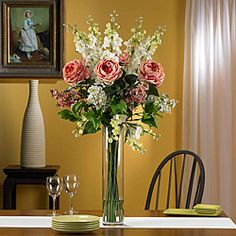 Silk Rose/ Delphinium/ Lilac Flower Arrangement - Overstock™ Shopping - Great Deals on Nearly Natural Silk Plants