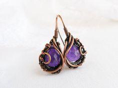 Wire earrings  Amethyst earrings  Wire jewelry by UrsulaJewelry, $56.00