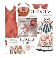 """Peachy Champagne, Peachy dress, Peachy diamonds"" by lajudy ❤ liked on Polyvore featuring LSA International, Chloé, Carine Gilson, Altuzarra, Rejina Pyo and Aquazzura"