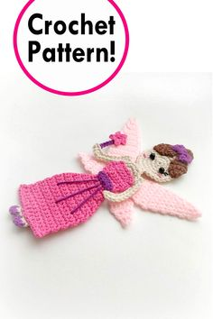 Fairy princess applique Crochet pattern, cute applique pattern for bags, crafting, scrapbooking and nursery wall art!