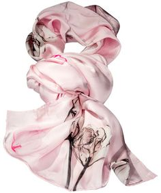 Damen-Seidenschal,  Rosé, Blumen Motiv, 100 % Seide. Maße: ca. 55 x 180 cm, Artikelnummer: 8100036 99,90 €. www.daniels-korff.de