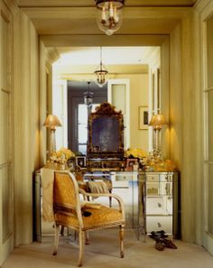 Possibility? Add depth and light? Possible angle panel the sides, or just panel with sconces  image niche vanity - Google Search