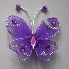 wedding stuff | -Purple--Butterfly-Wedding-Decorations. Nylon Flowers, Fabric Flowers, Paper Flowers, Purple Jewelry, Butterfly Jewelry, Butterfly Wedding, Purple Butterfly, Butterfly Decorations, Wedding Decorations