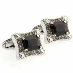 Black Crystal Rectangle Cufflinks
