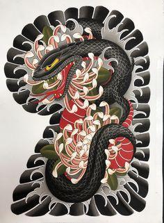 Japanese Snake Tattoo, Tattoo Japanese Style, Japanese Tattoo Designs, Japanese Sleeve Tattoos, Traditional Tattoo Design, Traditional Japanese Tattoos, Gangsta Tattoos, Badass Tattoos, Samurai Tattoo Sleeve