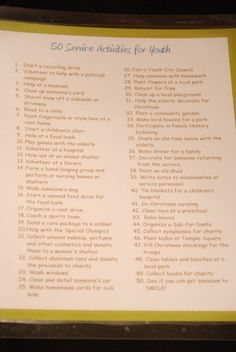 50 Service Ideas for Youth