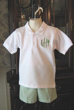 Boy's Seersucker Shorts & Monogrammed Polo