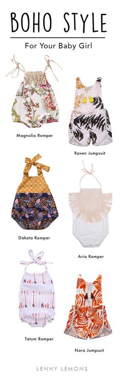 FREE USA SHIPPING up to 50% OFF! Such a cool and modern style for your little baby girl. Choose between these rompers to dress your girl this summer. Lenny Lemons, baby and toddler apparel.