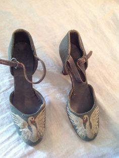 Antique Art Deco Swan Petit Point Shoes