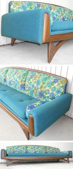 Adrian Pearsall mid-century sofa. #blue #teal #turquoise #green #walnut #wood #couch