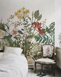 Let's chat about wall murals. From the bedroom to the living room, I'm going to share my favorite examples and I think you'll see why I am crushing on wall murals! Rustic Walls, Rustic Wall Decor, Bedroom Murals, Bedroom Wall, Bedroom Sets, Bedrooms, Bedroom Decor, Lilac Walls, Watercolor Walls