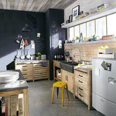 Mobile basso da cucina in legno riciclato L 140 cm