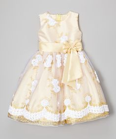 Another great find on #zulily! White & Gold Floral Embroidered Overlay Dress - Toddler & Girls #zulilyfinds