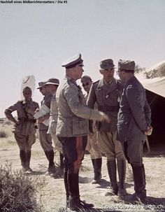 "General Erwin Rommel speaking with his Italian allies. In the middle is Sonderführer Dr. Ernst Franz, Rommel's interpreter. Franz recalls how, after an elite Bersaglieri position was overrun, their commander tearfully pleaded with Rommel: ""Believe me, my men are not cowards."" And Rommel replied, ""Who said anything about cowards? It's your superiors in Rome who are to blame!"