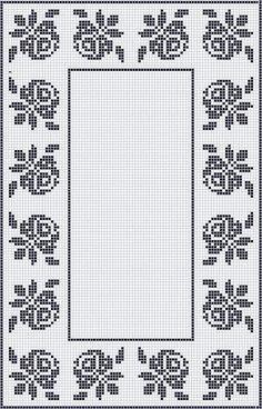 Crochet Border Patterns, Crochet Table Runner Pattern, Crochet Tablecloth, Crochet Doilies, Cross Stitch Patterns, Cross Stitch Rose, Cross Stitch Flowers, Folk Embroidery, Cross Stitch Embroidery