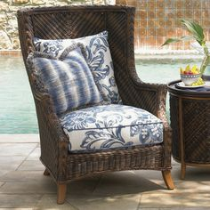 On the hunt for a vintage high back cane or rattan chair like this so I can make these cushions from our fabrics.