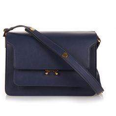 Marni Trunk medium leather shoulder bag (12,650 CNY) ❤ liked on Polyvore featuring bags, handbags, shoulder bags, navy, genuine leather handbags, real leather handbags, leather shoulder handbags, navy shoulder bag and leather purse
