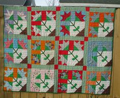 Carolina Lily quilt found in Michigan but likely Southern. Recently purchased—found in a trunk at the side of the road on the East side of Detroit. Lots of Southerners moved north during/after WWII to work in the auto plants. Photo by Pepper Cory.
