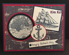 Father's Day Card Ship Pop Up 3D Stampin Up The Open by KimKatShop