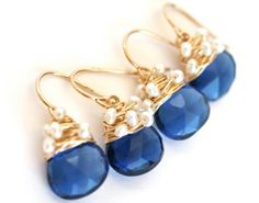Cobalt Blue and White Pearl Dangle Earrings by WrennJewelryWedding, $38.00