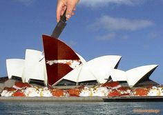 Opera House cake by Wizzical (photomontage) House Cake, Cake Pictures, Photomontage, Photo Art, Opera House, Digital Art, Cakes, Wallpaper, Travel