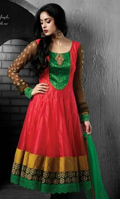 Red Readymade Anarkali Churidar Kameez!!